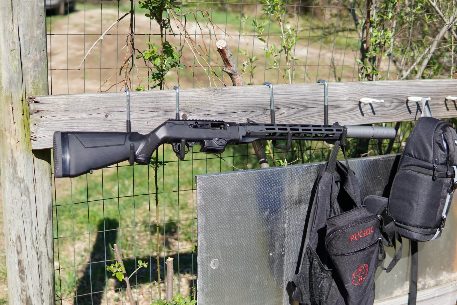 Ruger PC Carbine with Free Float Rail, Dead Air Wolf 9SD Suppressor